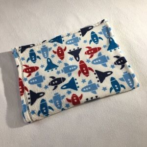 Red, white & blue rocket fleece baby blanket